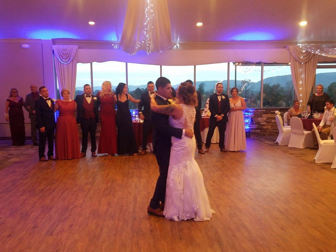 Bride & Groom's first dance at Woodstone Country Club in Danielsville, Pa with Appalachian Entertainment